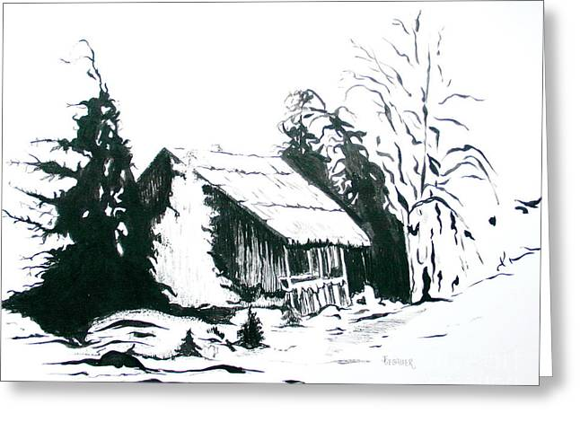 Old Barn Drawing Greeting Cards - Black and White Barn in Snow Greeting Card by Joyce Gebauer