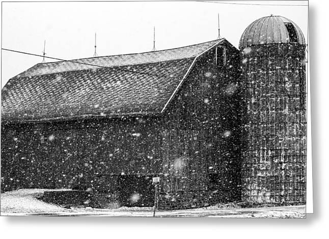 Snow Scenes Greeting Cards - Black and White Barn Greeting Card by Tim Buisman