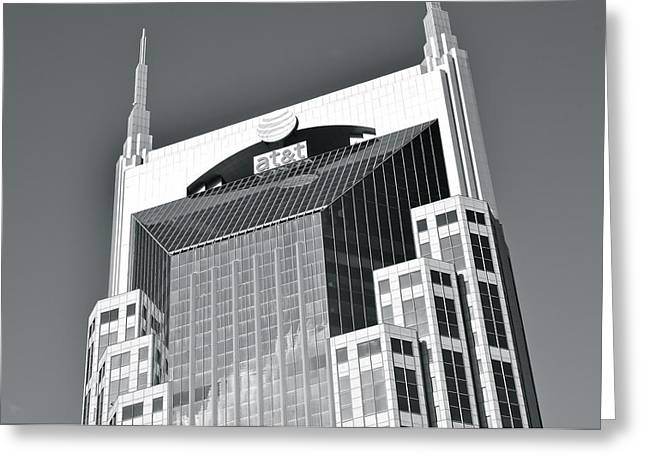 Batman Greeting Cards - Black and White Batman Building Greeting Card by Frozen in Time Fine Art Photography