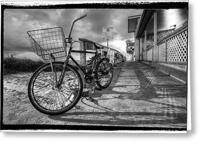 Hobe Sound Greeting Cards - Black and White Beach Bike Greeting Card by Debra and Dave Vanderlaan