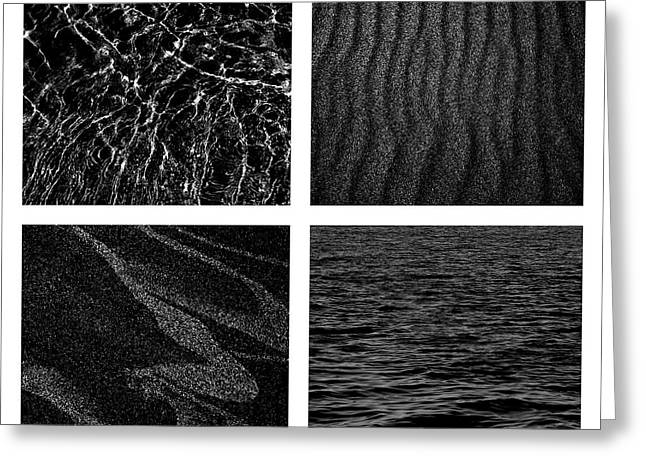 Sand Patterns Greeting Cards - Black and White Beach Greeting Card by Michelle Calkins