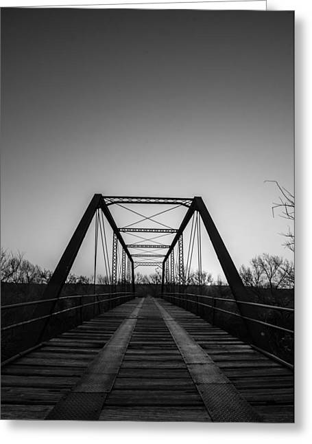 Iron Greeting Cards - Black and White Bridge Greeting Card by David Downs