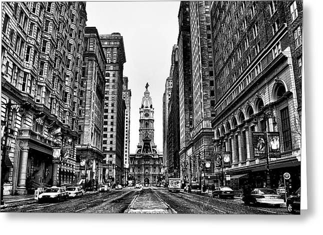 Urban Canyon Greeting Cards - Black and White Broadstreet Greeting Card by Bill Cannon