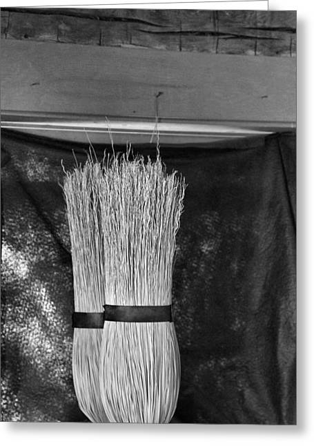 Cabin Wall Greeting Cards - Black And White Brooms Greeting Card by Dan Sproul
