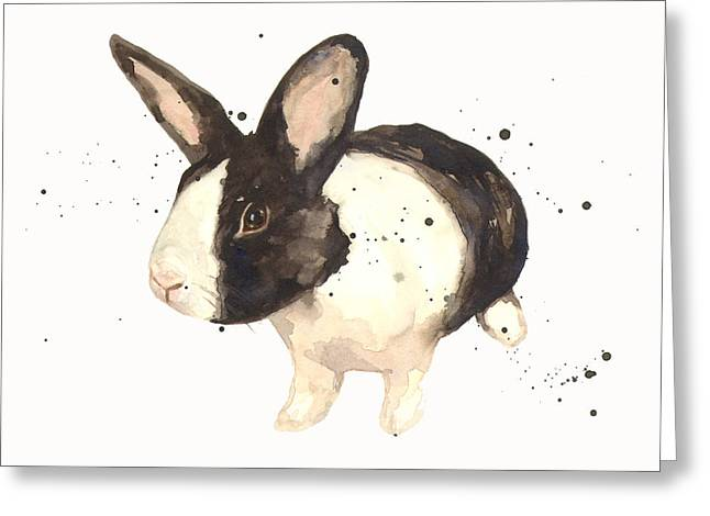 Watercolour Paintings Greeting Cards - Black and White Bunny Greeting Card by Alison Fennell