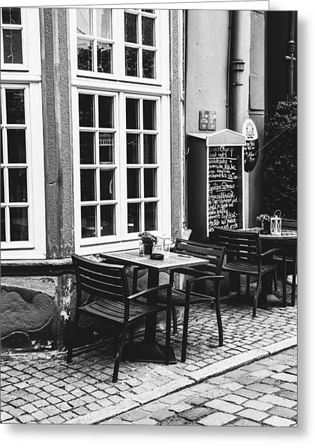 Black And White Cafe Greeting Card by Pati Photography