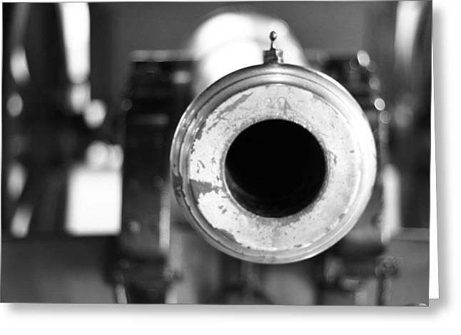 Cannonball Greeting Cards - Black And White Cannon Greeting Card by Dan Sproul