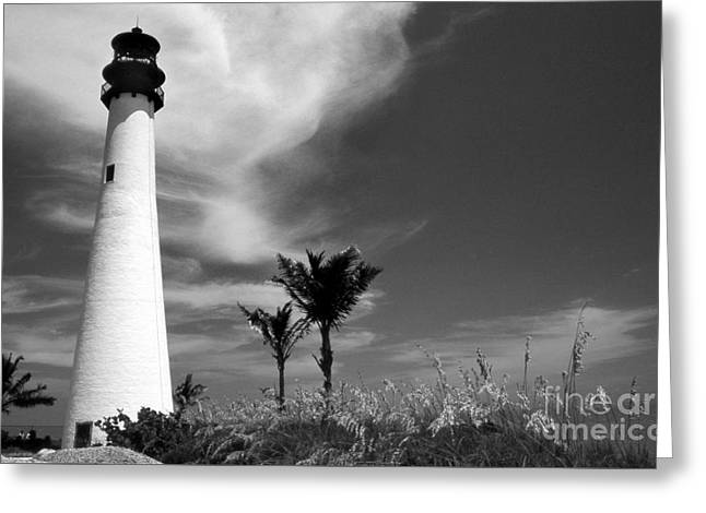 Black And White Cape Florida Light Greeting Card by Skip Willits