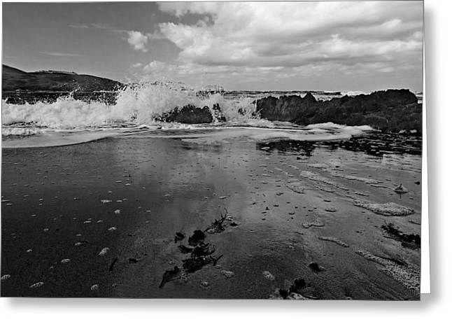 Summer Storm Greeting Cards - Black and white mediterranean beach - Black and white caress Greeting Card by Pedro Cardona