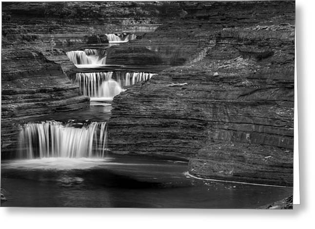 Seneca Valley Greeting Cards - Black And White Cascade Greeting Card by Bill  Wakeley