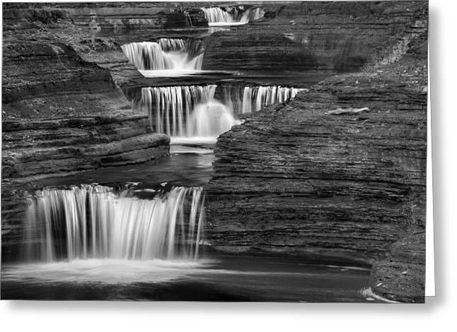 Finger Lakes Greeting Cards - Black And White Cascade Square Greeting Card by Bill  Wakeley