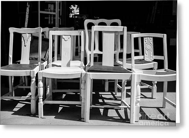 Ladder Back Chairs Greeting Cards - Black and White Chairs Greeting Card by Sonja Quintero
