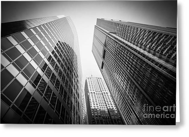Low-angle Greeting Cards - Black and White Chicago Downtown City Office Buildings Greeting Card by Paul Velgos