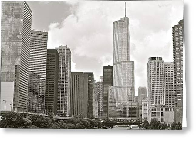 Black And White Chicago Panoramic Greeting Card by Frozen in Time Fine Art Photography