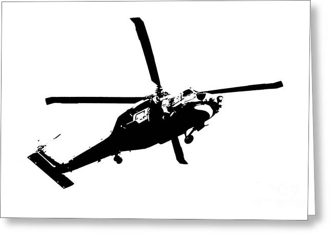 Justin Woodhouse Greeting Cards - Black and White Chopper Greeting Card by Justin Woodhouse