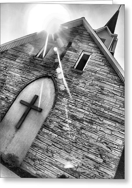 Yahweh Greeting Cards - Black And White Church Greeting Card by Dan Sproul