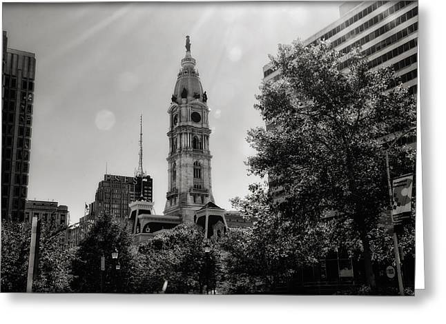 Cityhall Greeting Cards - Black and White City Hall Greeting Card by Bill Cannon