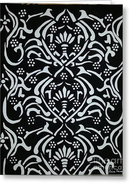 Fantasy Tapestries - Textiles Tapestries - Textiles Greeting Cards - Black and White Classic Damask Greeting Card by Debra Acevedo