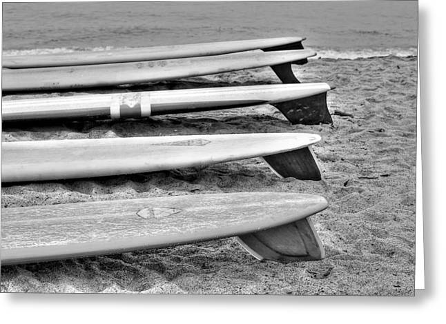 Meeting. Point Greeting Cards - Black and White Classic Surfboards Greeting Card by Richard Cheski