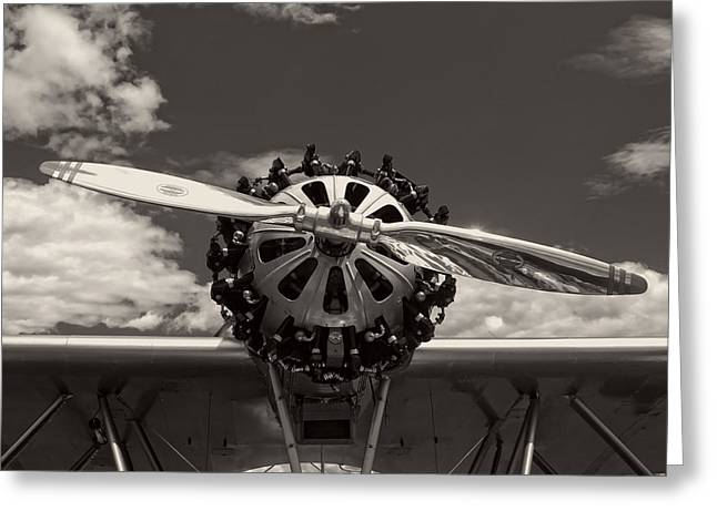 Plane Radial Engine Greeting Cards - Black and white Close-up Of Airplane Engine Greeting Card by Keith Webber Jr