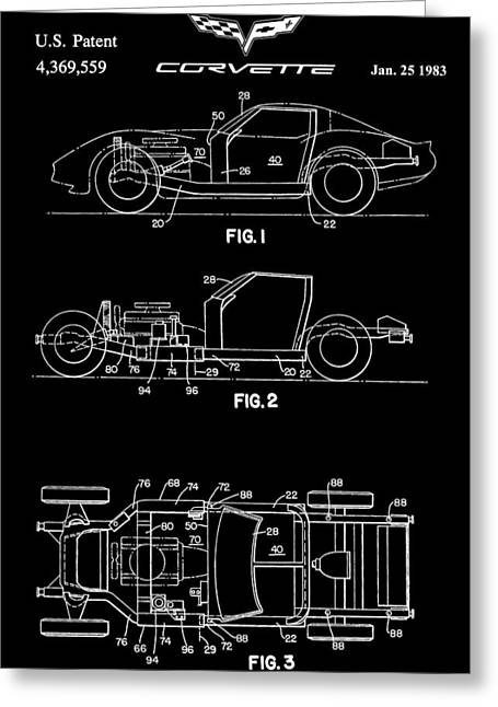 1983 Greeting Cards - Black And White Corvette Patent Greeting Card by Dan Sproul