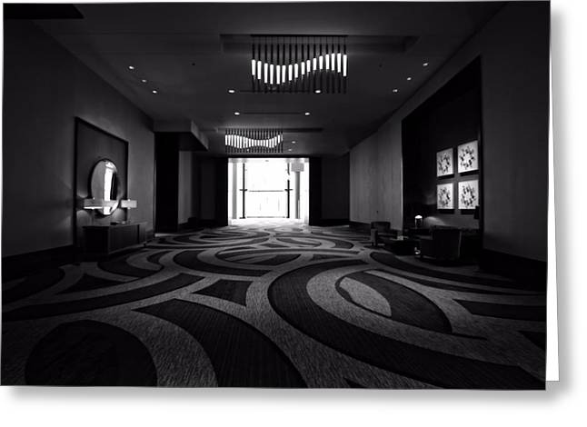 Nashville Tennessee Greeting Cards - Black And White Lobby In Nashville Greeting Card by Dan Sproul