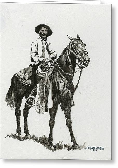 Cowboy Sketches Greeting Cards - Black and White - Cowboy Greeting Card by Don  Langeneckert