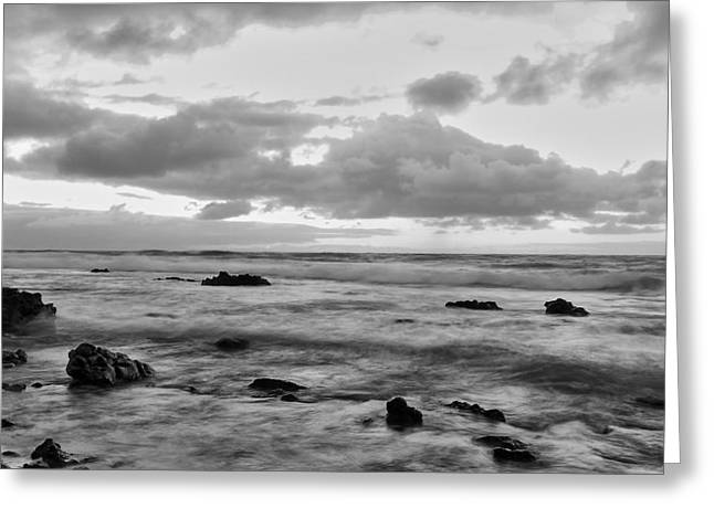 Phot Greeting Cards - Day at Sandy Beach - Black and White Greeting Card by Richard Cheski