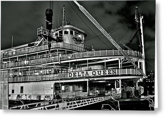 Steamboat Greeting Cards - Black and White Delta Queen Greeting Card by Frozen in Time Fine Art Photography