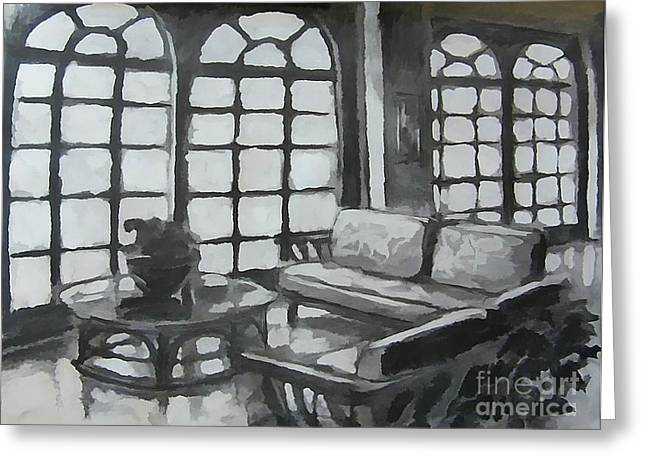 Table And Chairs Drawings Greeting Cards - Black and White Designs Greeting Card by John Malone