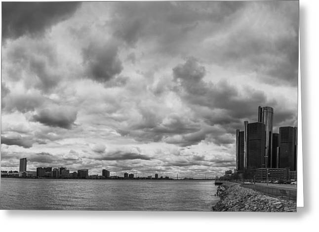 Renaissance Center Greeting Cards - Black and White Detroit Skyline  Greeting Card by John McGraw
