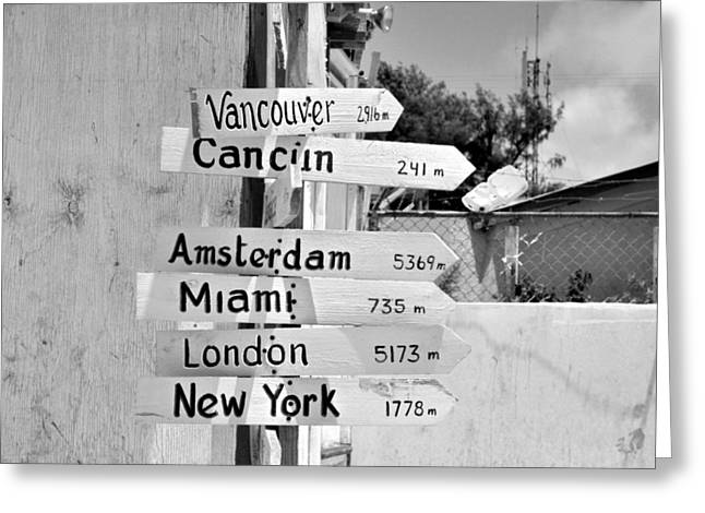 Directional Signage. Greeting Cards - Black and White Directional Sign Greeting Card by Kristina Deane