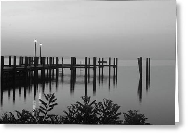 Concord Point Greeting Cards - Black and White Dock Greeting Card by Crystal Wightman