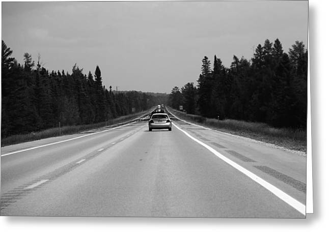 Drive Through Greeting Cards - Black And White Drive Through The Upper Peninsula Greeting Card by Dan Sproul