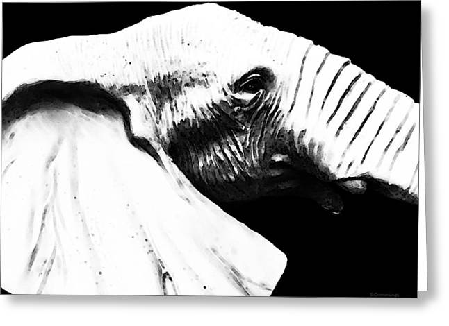 Wall-hanging Mixed Media Greeting Cards - Black And White - Elephant Head Shot Art Greeting Card by Sharon Cummings