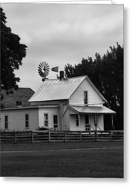 Indiana Farms Greeting Cards - Black And White Farm And Windmill Greeting Card by Dan Sproul