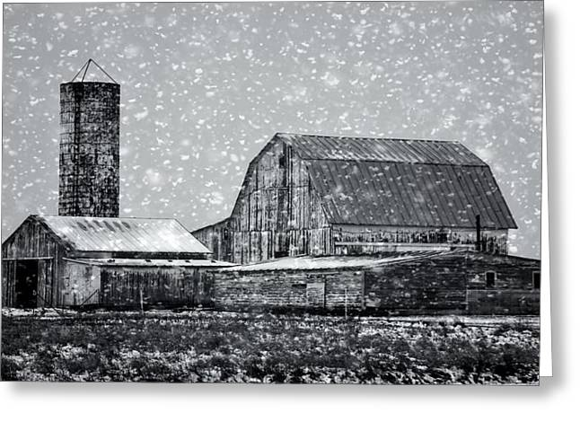 Barn In Winter Greeting Cards - Black And White Farm In Winter Greeting Card by Dan Sproul