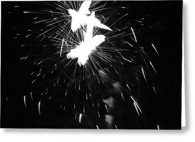 Firecracker Greeting Cards - Black And White Fireworks Explosion Greeting Card by Dan Sproul