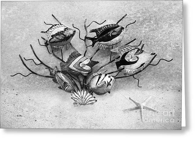 Metal Art Greeting Cards - Black and White Fish 1  Greeting Card by Betty LaRue