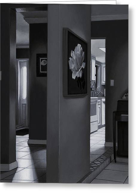 Interior Still Life Greeting Cards - Black and White Foyer Greeting Card by Tony Chimento