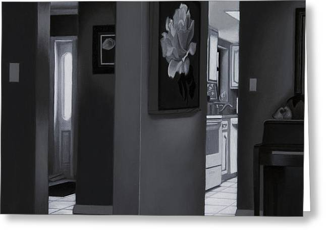 Black and White Foyer Greeting Card by Tony Chimento