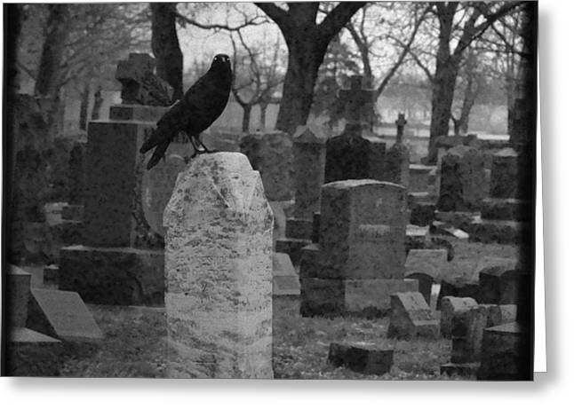Black And White Graveyard Greeting Card by Gothicolors Donna