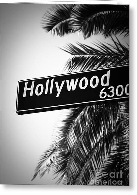 Signed Photographs Greeting Cards - Black and White Hollywood Street Sign Greeting Card by Paul Velgos