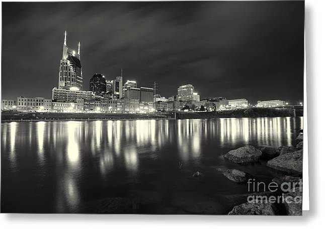 Black And White Image Of Nashville Tn Skyline  Greeting Card by Jeremy Holmes