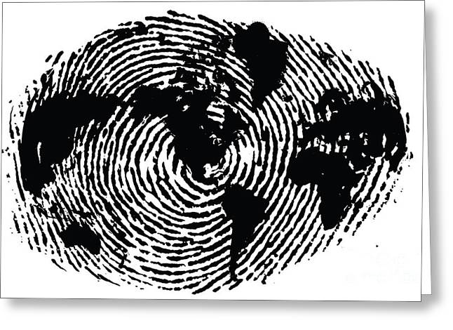 Planet Map Digital Art Greeting Cards - black and white ink print poster One of a Kind Global Fingerprint Greeting Card by Sassan Filsoof