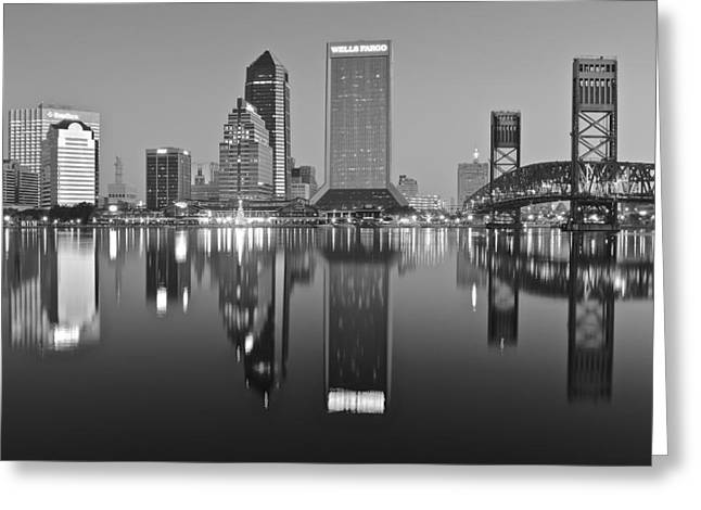 Downtown Indiana Greeting Cards - Black and White Jacksonville Greeting Card by Frozen in Time Fine Art Photography