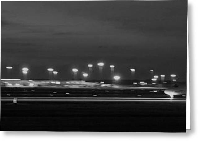 Traffic Control Greeting Cards - Black And White Jet Landing At Gerald R Ford Airport Greeting Card by Rosemarie E Seppala