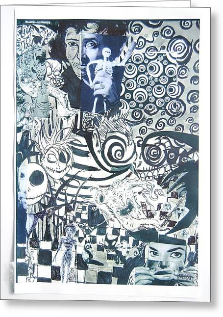 Tim Mixed Media Greeting Cards - Black and white  Greeting Card by Joe Ryan