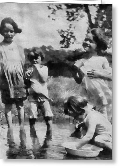 Little Sister Greeting Cards - Black And White Kids Playing In The Past Greeting Card by Dan Sproul