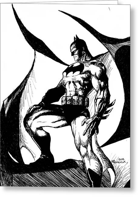 Alter Ego Greeting Cards - Black and White Knight Greeting Card by Kayleigh Semeniuk